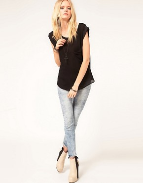 Image 4 ofJust Female Sheer Woven T-Shirt With Silk Trim