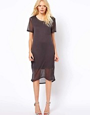 Selected Exclusive To ASOS Litta Double Layer Tee Dress in Mid Length