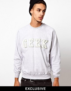 Image 1 ofReclaimed Vintage Sweat with GEEK Embroidery