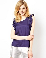 Iro Woven Top with Ruffle Detail
