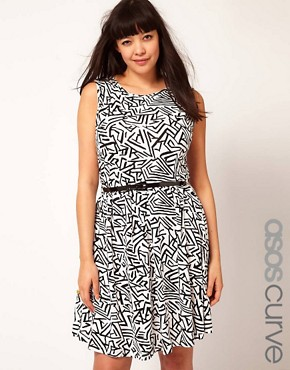 Image 1 ofASOS CURVE Exclusive Skater Dress In Geo Print With Belt