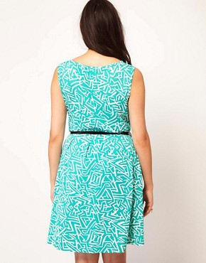 Image 2 ofASOS CURVE Exclusive Skater Dress In Geo Print With Belt