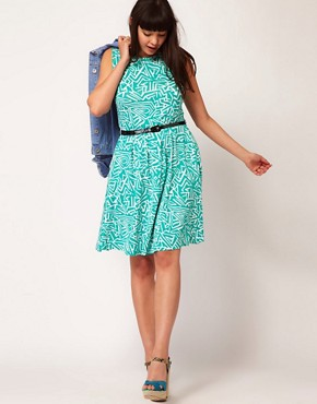 Image 4 ofASOS CURVE Exclusive Skater Dress In Geo Print With Belt