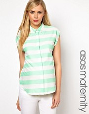 ASOS Maternity Blouse With Double Collar In Stripe