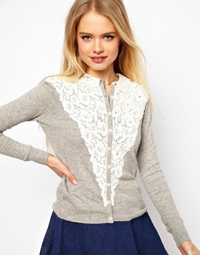 Image 1 ofASOS Lace Front Cardigan with Collar