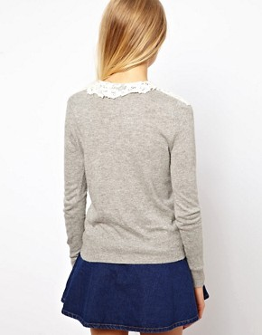Image 2 ofASOS Lace Front Cardigan with Collar