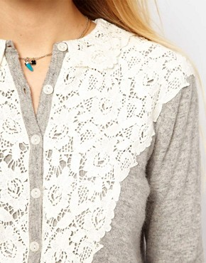 Image 3 ofASOS Lace Front Cardigan with Collar