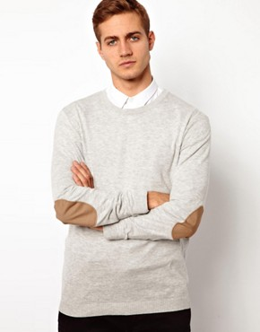 Image 2 ofASOS Crew Neck Jumper With Elbow Patches