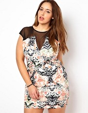 New Look Inspire Floral Print Dress with Mesh Inserts