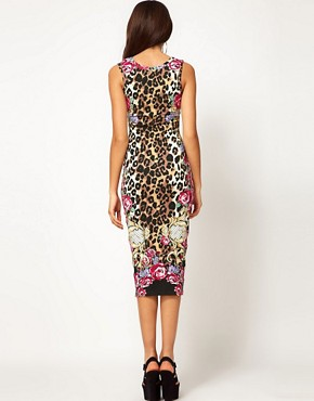 Image 2 ofRiver Island Animal Midi Dress with Racer Front