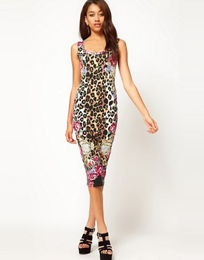 Image 4 ofRiver Island Animal Midi Dress with Racer Front
