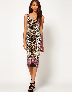 Image 1 ofRiver Island Animal Midi Dress with Racer Front