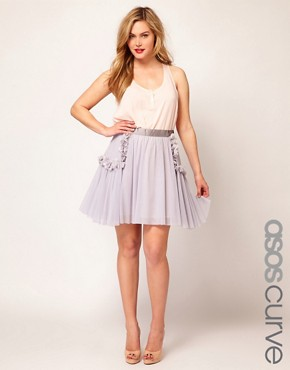 Image 1 ofASOS CURVE Flower Pocket Flippy Skirt