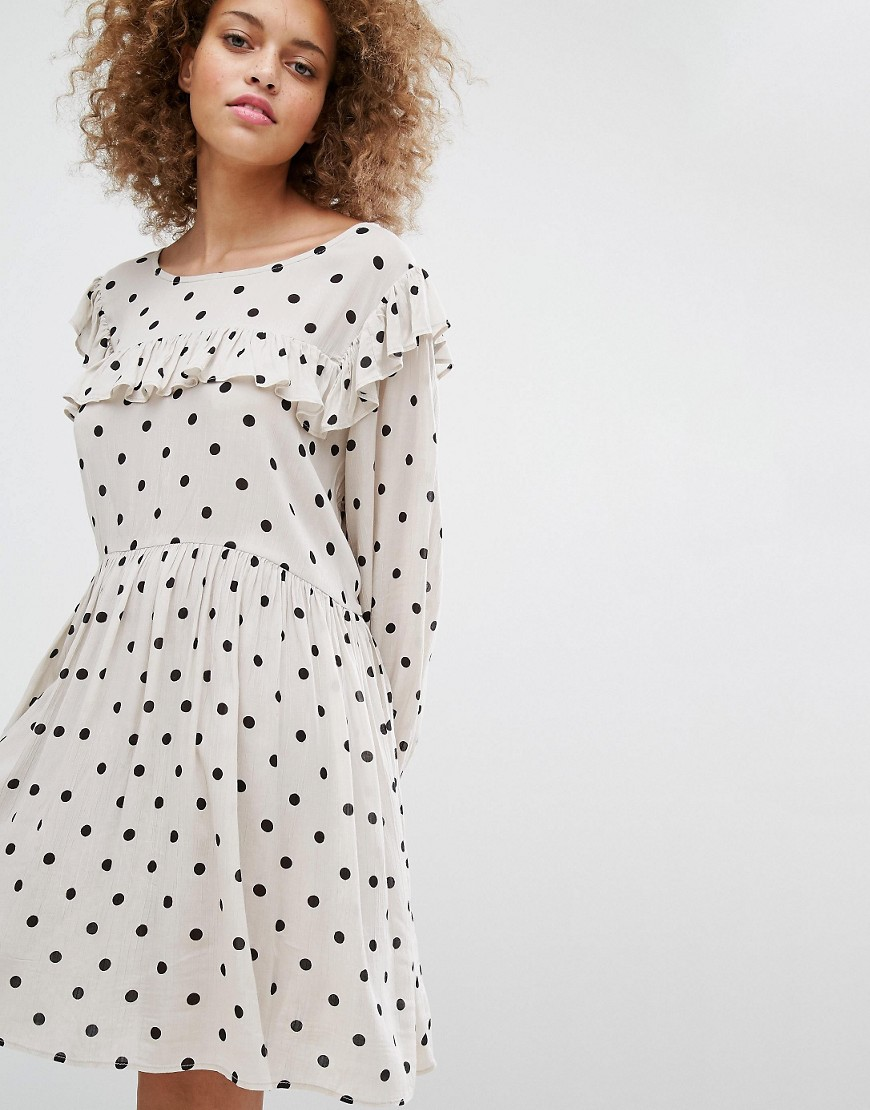 STYLENANDA Smock Dress With Polka Dot Print - Cream