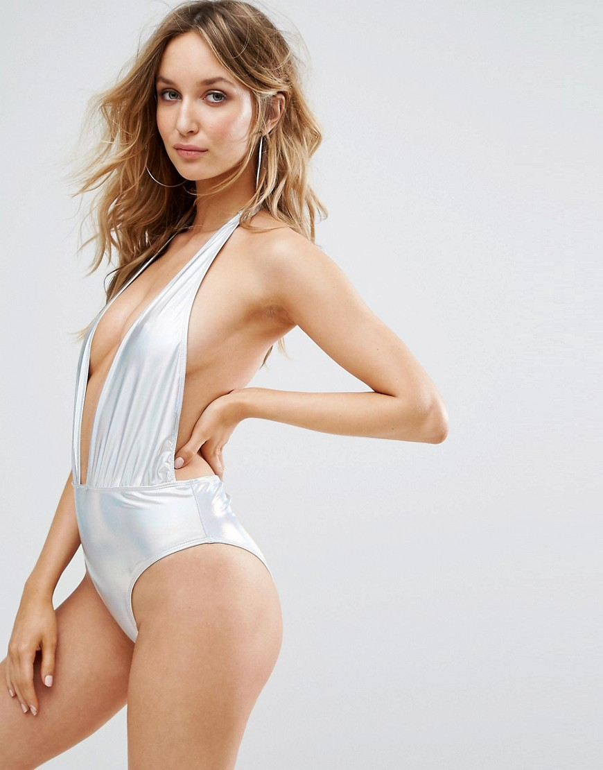 Prettylittlething Holographic Plunge Swimsuit