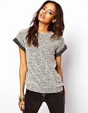 ASOS Knitted Tee With Rolled Sleeves