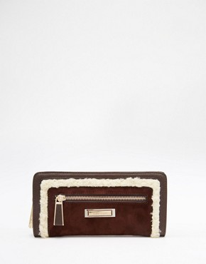 River Island Zip Purse with Faux Shearling Trim