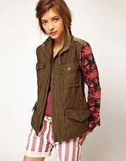 Maison Scotch Army Jacket with Contrast Sleeves