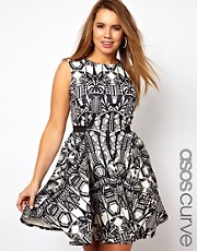 ASOS CURVE Exclusive Skater Dress In Mono Art Deco Print