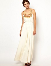 Warehouse Embellished Bib Pleated Maxi Dress