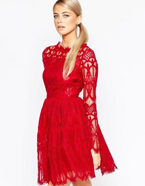 Boohoo Premium Lace Skater Dress