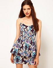 ASOS Africa Peplum Mini Dress in Floral Print