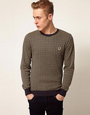Fred Perry Laurel Wreath Jumper with Dash Jaquard