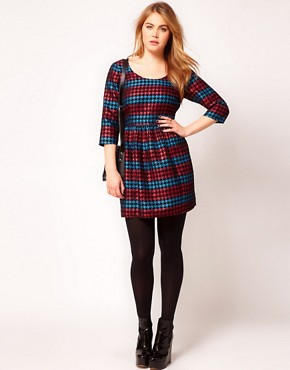 Image 4 ofASOS CURVE Exclusive Skater Dress in Metallic Dogtooth