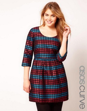 Image 1 ofASOS CURVE Exclusive Skater Dress in Metallic Dogtooth
