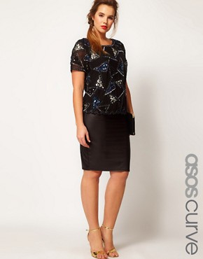 Image 1 ofASOS CURVE Exclusive Midi Skirt in Matt Shine