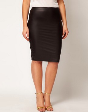 Image 4 ofASOS CURVE Exclusive Midi Skirt in Matt Shine