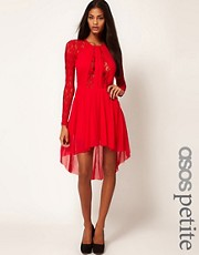 ASOS PETITE Exclusive Lace Insert Skater Dress With High Low Hem
