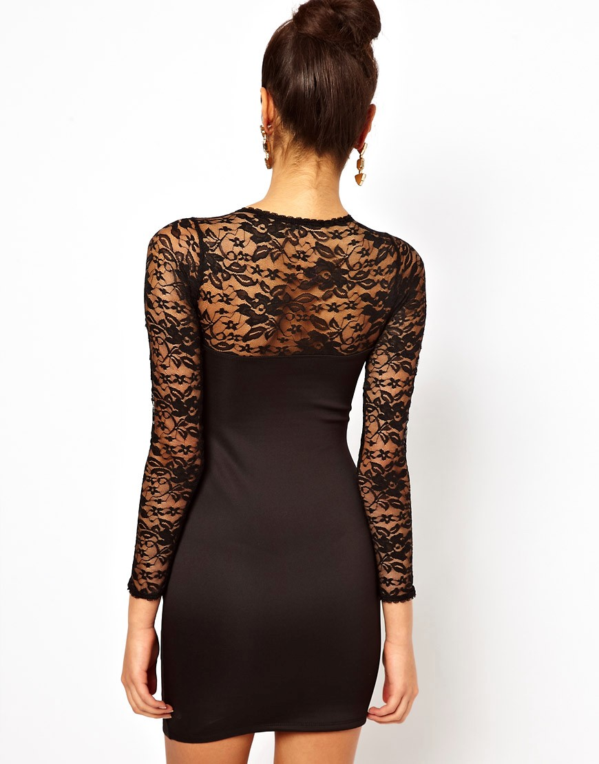 Image 2 of Lipsy Lace Top Dress
