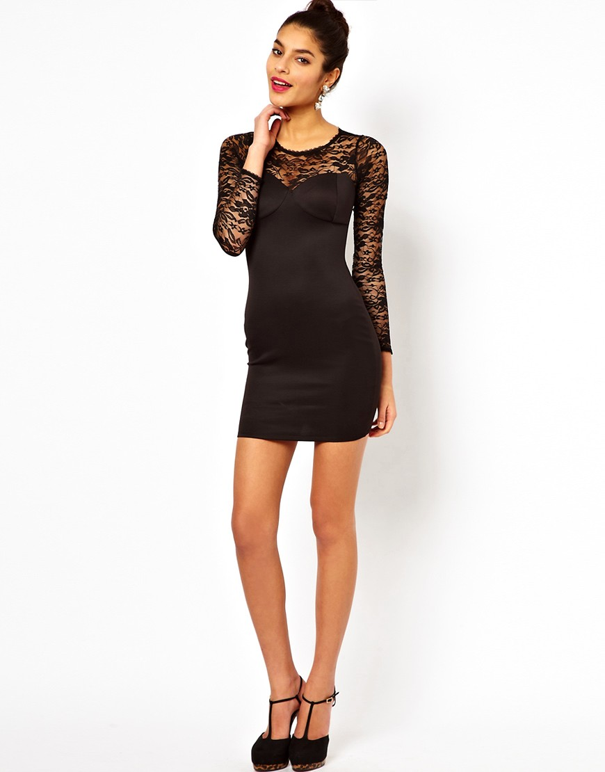 Image 4 of Lipsy Lace Top Dress