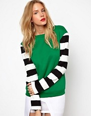Lavish Alice Sweatshirt With Stripe Sleeves