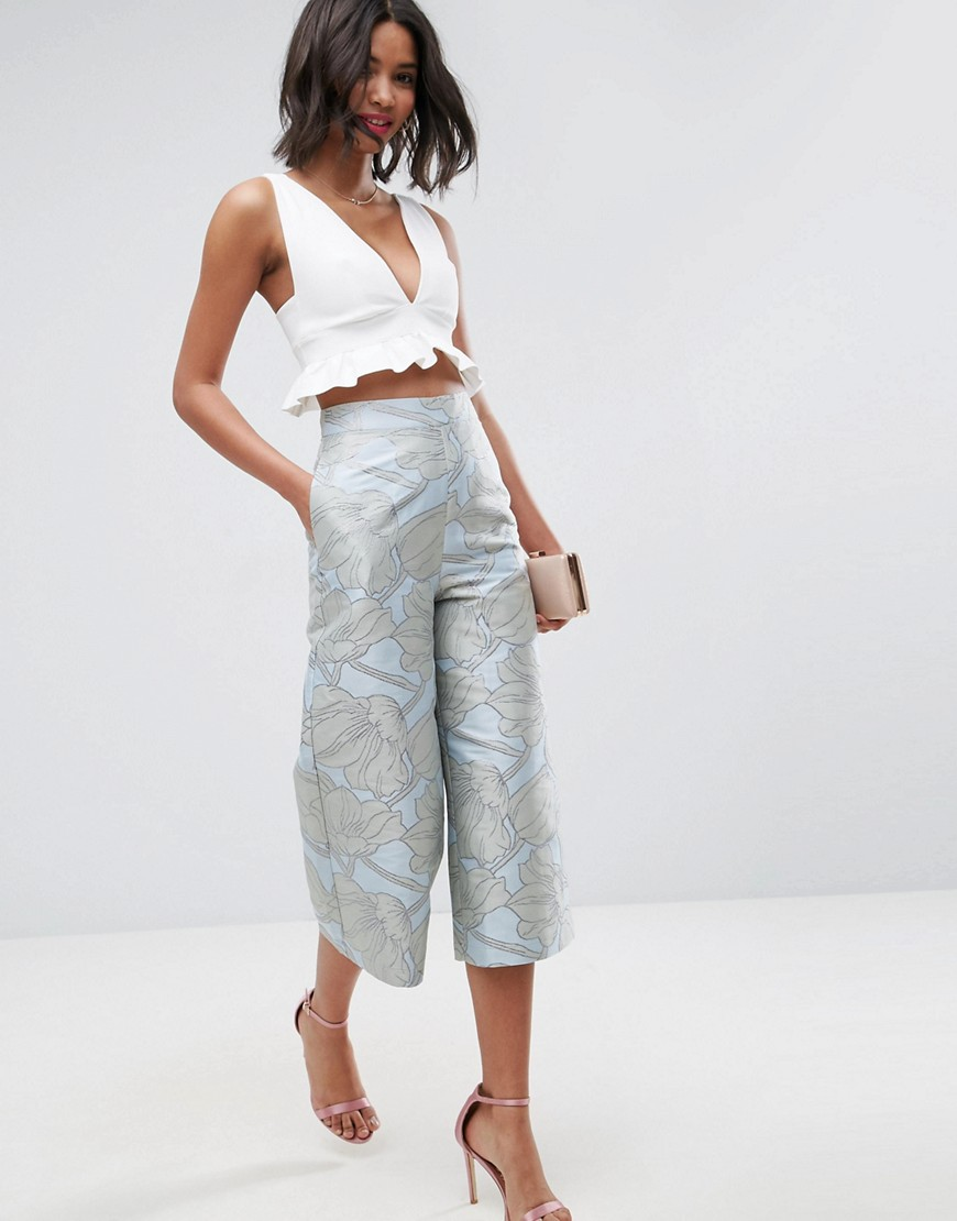 ASOS Tailored Large Bloom Jacquard Culottes - Multi