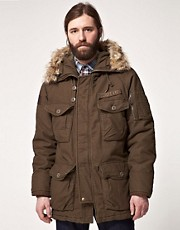 Parka con capucha de piel sinttica de Schott