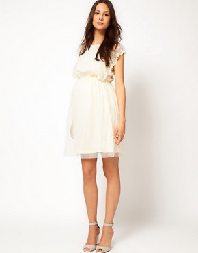 Image 4 ofASOS Maternity Exclusive Dress With Scallop Sleeve