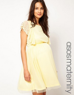 Image 1 ofASOS Maternity Exclusive Dress With Scallop Sleeve