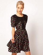 ASOS Woven Dress In Ditsy Print With Lace Applique