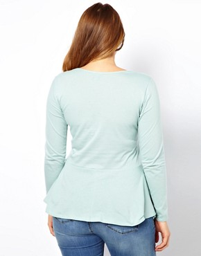 Image 2 ofASOS CURVE Exclusive Peplum Top in Soft Jersey with Sleeves
