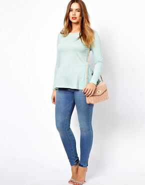 Image 4 ofASOS CURVE Exclusive Peplum Top in Soft Jersey with Sleeves