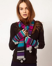 Alice Hannah Exclusive to Asos Pom Pom Stripe Scarf &amp; Glove Gift Set