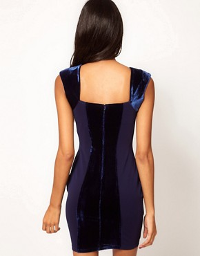 Image 2 of Lipsy Bodycon Dress with Velvet Panels
