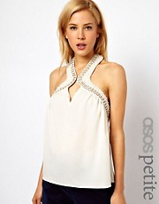 ASOS PETITE Top With Embellished Key Hole