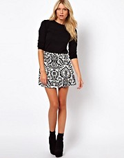 ASOS Skater Skirt in Baroque Print