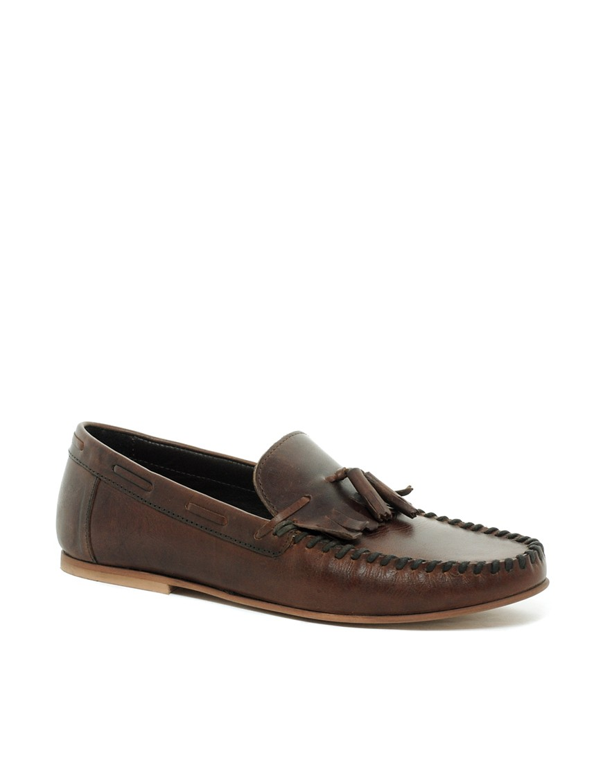 Image 1 ofASOS Tassel Loafers in Leather