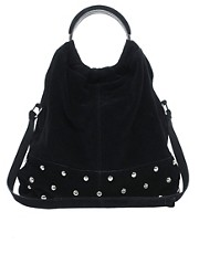 ASOS Leather Circle Handle Stud Slouch Bag