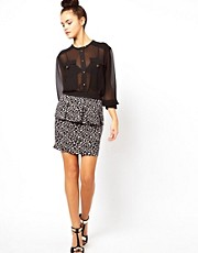 Oasis Peplum Skirt In Leopard Print