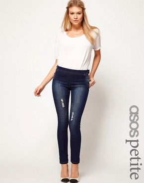 Image 1 of ASOS PETITE Kate Dark Indigo Jeggings